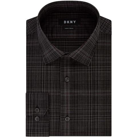 DKNY Mens Dress Shirt Carbon Gray Black Size XL Slim Fit Plaid Stretch