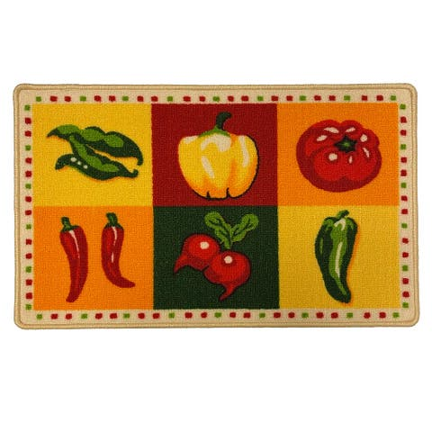 Spicy Hot Chili Pepper Kitchen Rug Mat, Multi, 18x30 Inches
