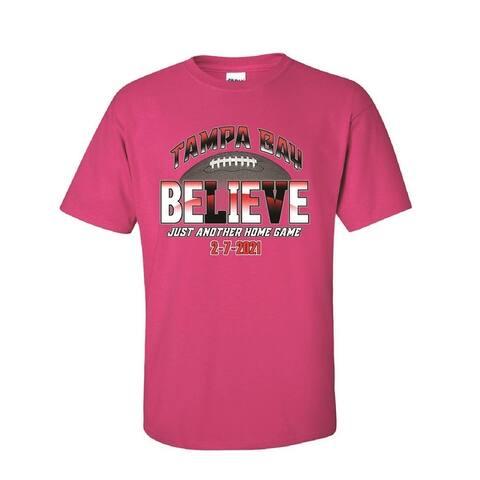 Tampa Bay Bucs Football Believe T-SHIRT Red, Black, Pink, Gray