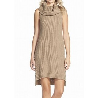BB Dakota NEW Beige Womens Size Medium M Cowl Neck Ribbed Sweater Dress
