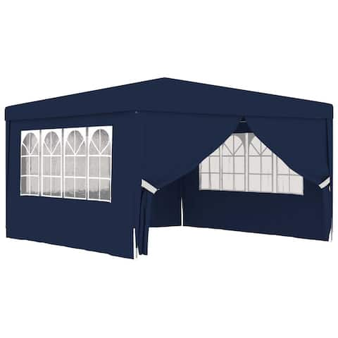 vidaXL Professional Party Tent with Side Walls 13.1'x13.1' Blue 90 g/m2