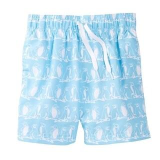 Azul Boys Light Blue White Penguin Print Freeze Swimwear Shorts