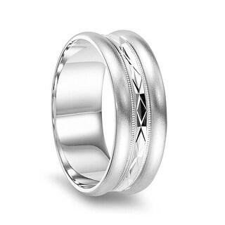 14k White Gold Diamond Cut Center Brushed Finished Raised Round Edges Women S Wedding Ring 4mm