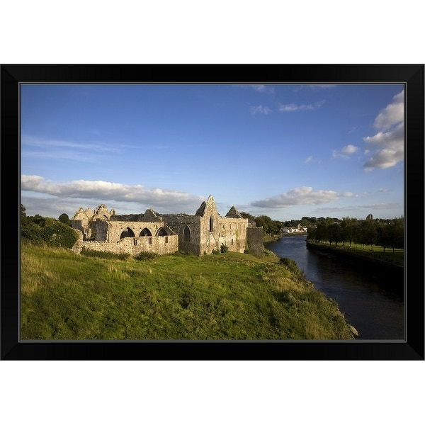 """14th Century Franciscan Friary on the River Deel, Askeaton, County Limerick, Ireland"" Black Framed Print"
