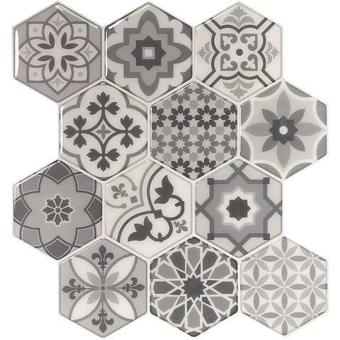 "Art3d 11.4"" × 10.6"" Vinyl Peel and Stick Backsplash Tile (10-Pack) Talavera Hexagon"