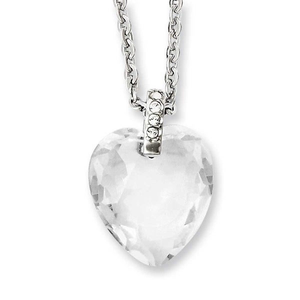 Chisel Stainless Steel Crystal Heart & CZs 18in Necklace (2.3 mm) - 18 in