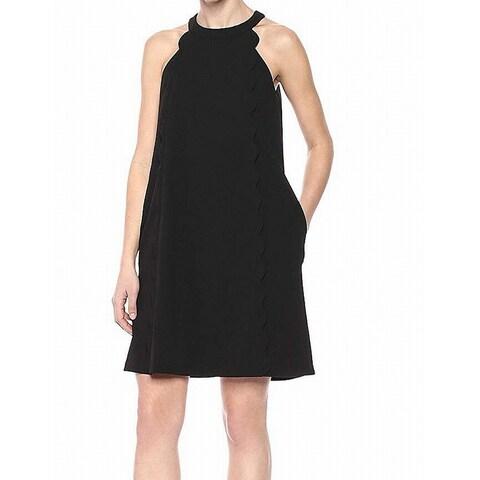 Kensie Solid Black Women's Size 8 Scuba Crepe Halter Shift Dress