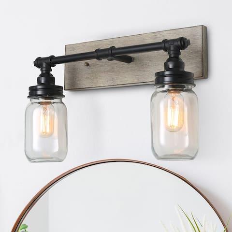 "Black Farmhouse Bathroom Vanity Light with Mason Jars - 18.1""L x 11.8""H"