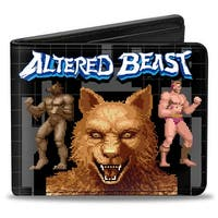 Sega Genesis Altered Beast Pixelated Wolf Pose Wolf Face Human Pose Grid Bi-Fold Wallet - One Size Fits most
