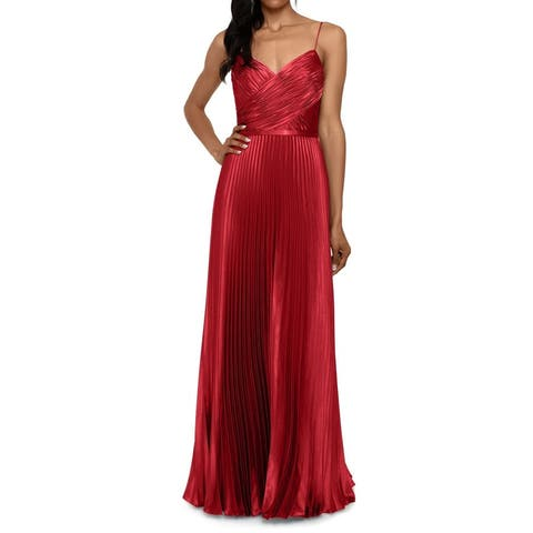Betsy & Adam Women's Dress Red Size 8 Accordian Pleat Spaghetti Gown