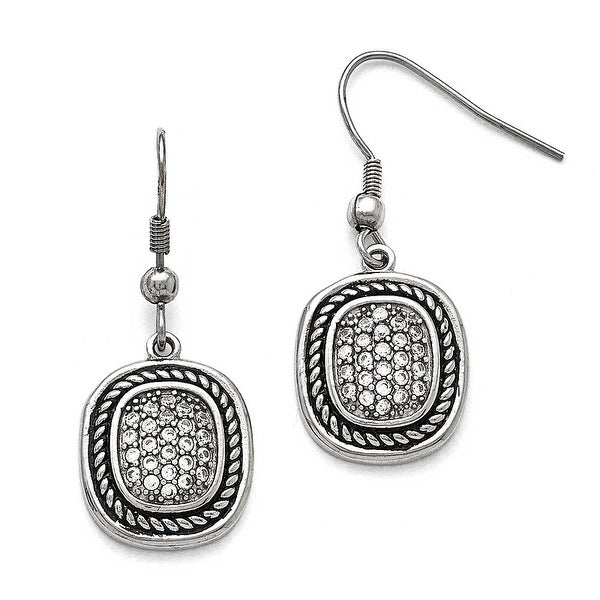 Chisel Stainless Steel Polished and Antiqued CZ Shepherd Hook Earrings