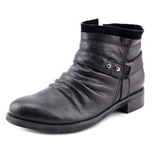 All Black Layered Bootie Women Round Toe Leather Black Bootie