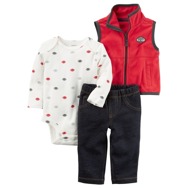 0cdb95ca6 Shop Carter's Baby Boys' 3 Piece Sports Little Vest Set, 6 Months -  Blue/Red - Free Shipping On Orders Over $45 - Overstock - 19515512