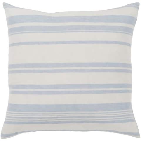 "Lawson Blue & White Striped Feather Down Throw Pillow (18"" x 18"")"
