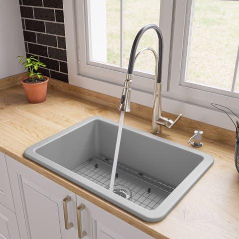 "Gray Matte 27"" x 18"" Fireclay Undermount / Drop In Firelcay Kitchen Sink"