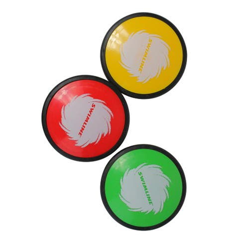 Set of 3 Red,Green and Yellow Floating Swimming Pool Disc Skippers 4""