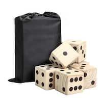 High Roller Yard Dice Set with Black Nylon Storage Bag, Wood