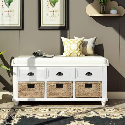Rustic Storage Bench with 3 Drawers and 3 Rattan Baskets