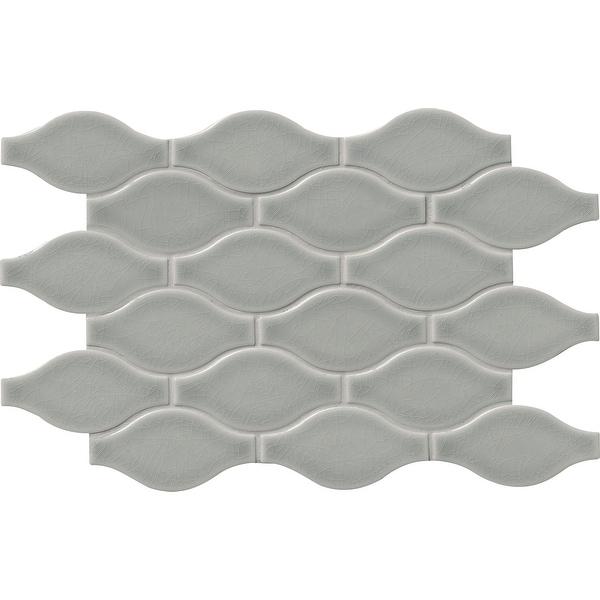 "MSI SMOT-PT-OGEE Highland Park - 14-3/8"" x 11-1/4"" Wave Mosaic Sheet - Glossy Ceramic Visual - Sold by Carton (11.2 SF/Carton)"