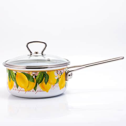 STP Goods Lemon Garden Enamel on Steel 1.6-quart Saucepan w/Lid