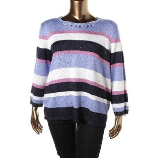 Alfred Dunner Womens Plus Crochet Striped Pullover Sweater - 1X