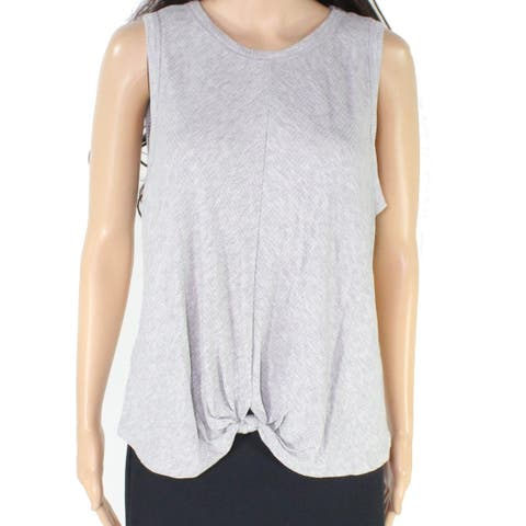 Lush Women's Top Gray Size XL Ribbed Knit Twisted Front Tank Cami
