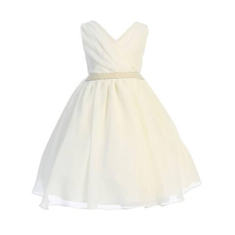 Ellie Kids Ivory Cross Body Rhinestone Chiffon Easter Dress Big Girls
