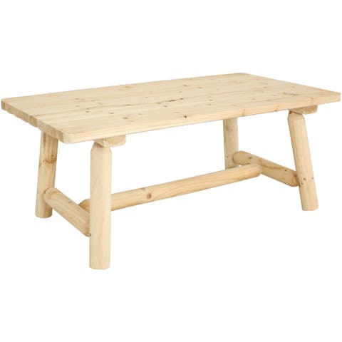 Sunnydaze Rustic Unfinished Fir Wood Coffee Table - Cabin Furniture - 41-Inch