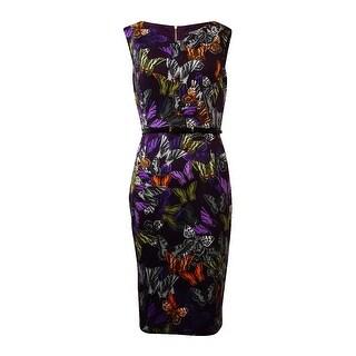 Ellen Tracy Women's Cap Sleeves V-Neck Dress - Purple/Multi