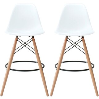 """2xhome Set of 2 25"""" Plastic Eiffel Chairs Bar Stool Counter Stools With Back Wood Side Molded Shell For Kitchen Restaurant (Option: White)"""