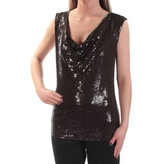 MICHAEL KORS Womens Brown Sequined Sleeveless Scoop Neck Top Size: XS