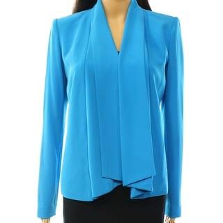 Calvin Klein NEW Blue Women's Size 10 Shawl-Collar Zip-Pocket Jacket
