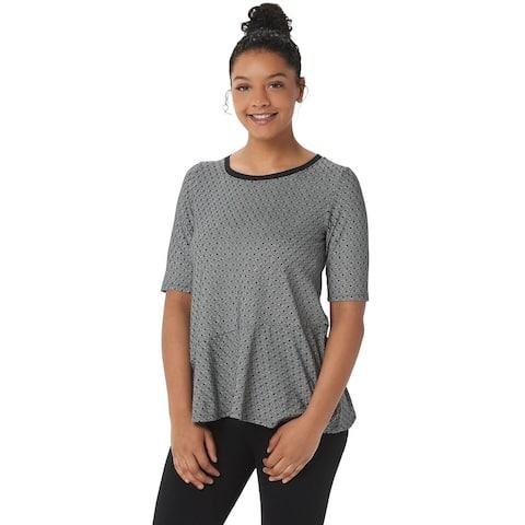 Cuddl Duds Womens Flexwear Elbow-Sleeve Asymmetric Peplum Top 2X Black A346871