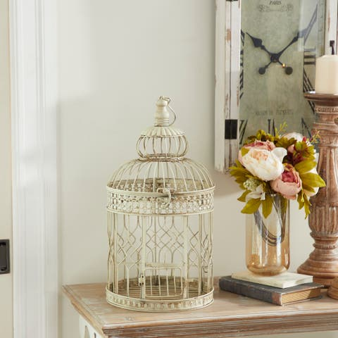 Cream Iron Vintage Birdcage (Set of 2) - 10 x 10 x 22Round