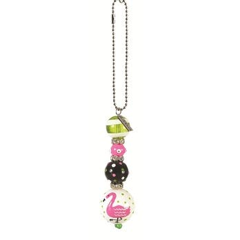 Pink Flamingo Rhinestone Glass Beaded Kate and Macy Car Charm Clementine Design
