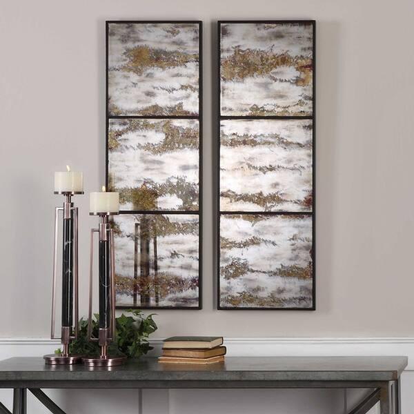 White Antique Style Panel Wall Mirror
