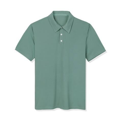 Lars Amadeus Men Summer Short Sleeve Solid Performance Golf Polo Shirt
