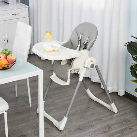Qaba Foldable Baby Convertible High Chair with Adjustable Backrest/Footrest, Removable Tray, a 5-Point Harness, Grey