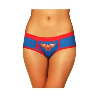 Plus Size Wonder Woman Boyshort Panty, Plus Size Blue And Red Panty - 2x