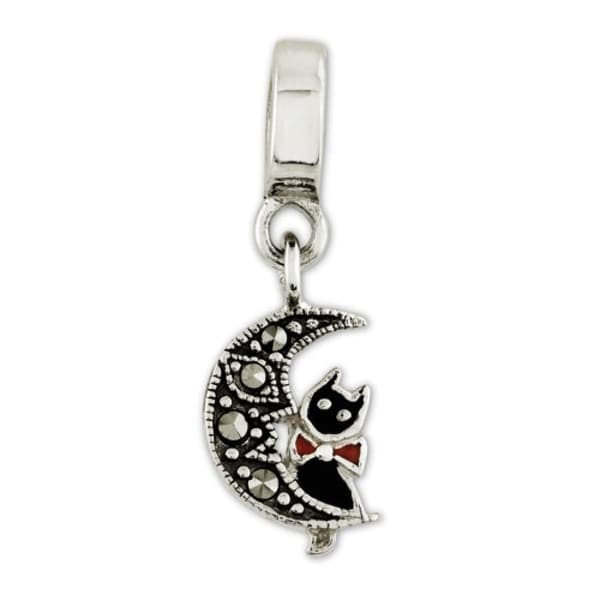Sterling Silver Reflections Marcasite Cat & Moon Dangle Bead (4mm Diameter Hole)