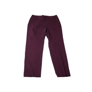 Jm Collection Woman Plus Size Maroon Pull-On Slim-Leg Pants 24W