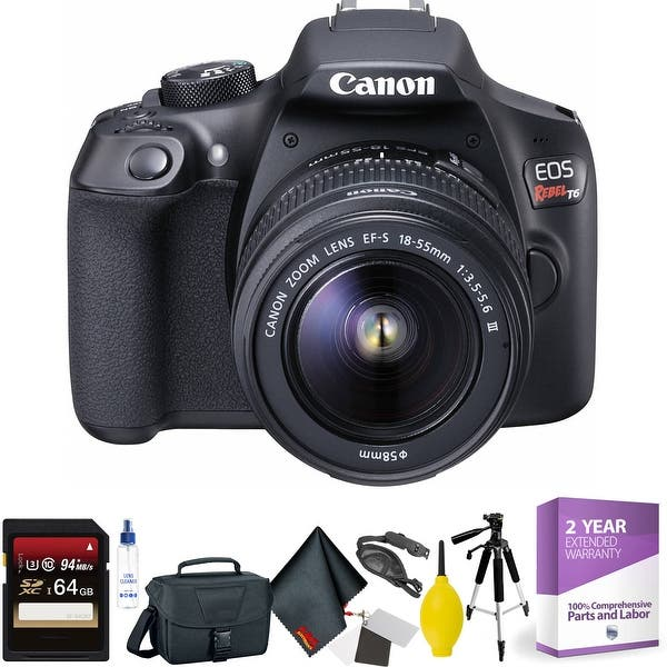 Canon Eos Rebel T6 Dslr Camera With 18 55mm And 75 300mm Lenses Kit 64gb Memory Card Mega Accessory Kit 1 Year Warranty