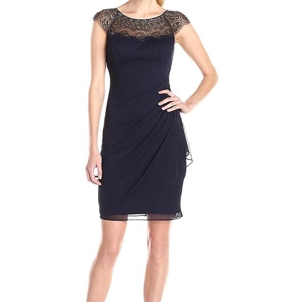 Shop Xscape NEW Gray Women s 6 Beaded Mesh Cap-Sleeve Jeweled Sheath Dress  - Free Shipping Today - Overstock.com - 20457547 bf62d6627b3d