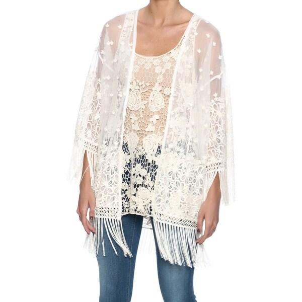 KAKTUS White Ivory Mesh Sheer Fringe Embroidered Small S Jacket