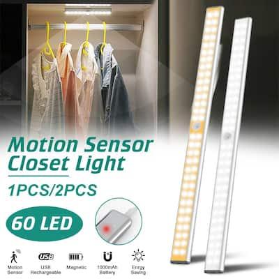 1/2PCS 60 LED Motion Sensor Closet Light USB Rechargeable For Stairway Pantry Wardrobe Kitchen Hallway Bathroom