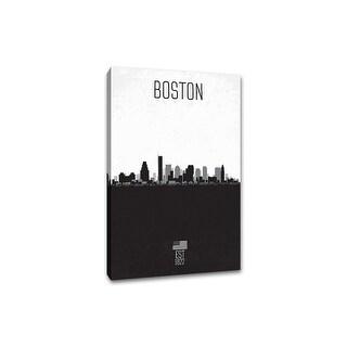 Boston - Distressed Skyline Art - 16x24 Gallery Wrapped Canvas Wall Art B&W