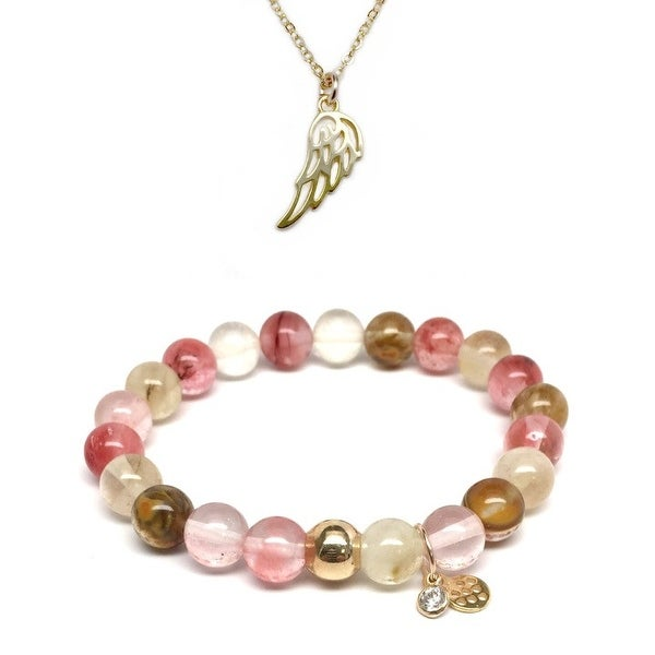 "Pink Cherry Quartz 7"" Bracelet & Angel Wing Gold Charm Necklace Set"