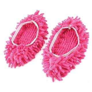 Home Microfiber Elastic Cuff Floor Cleaning Mop Slipper Shoes Cover Fuchsia Pair