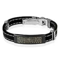Lords Prayer Black Plated Stainless Steel ID Plate Stitch Accent Rubber Bracelet (10 mm) - 7.25 in