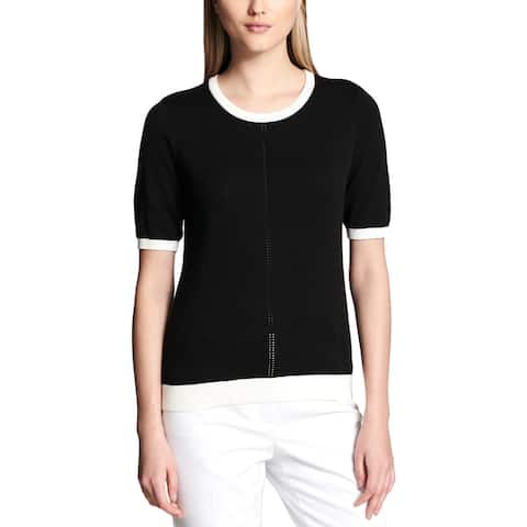 Calvin Klein Womens Pullover Sweater Short Sleeves Crew Neck